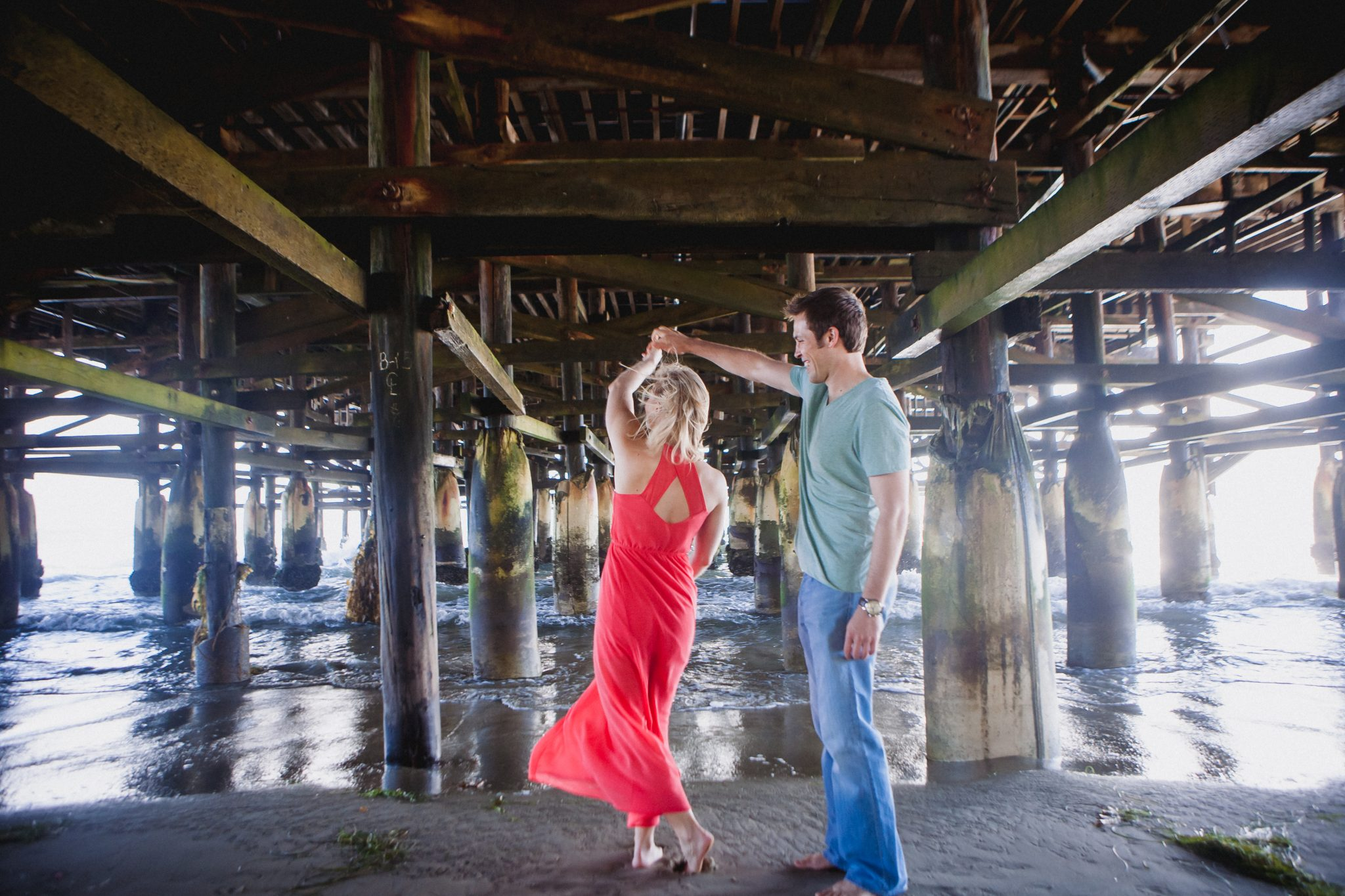Pacific Beach engagement shoot under the pier