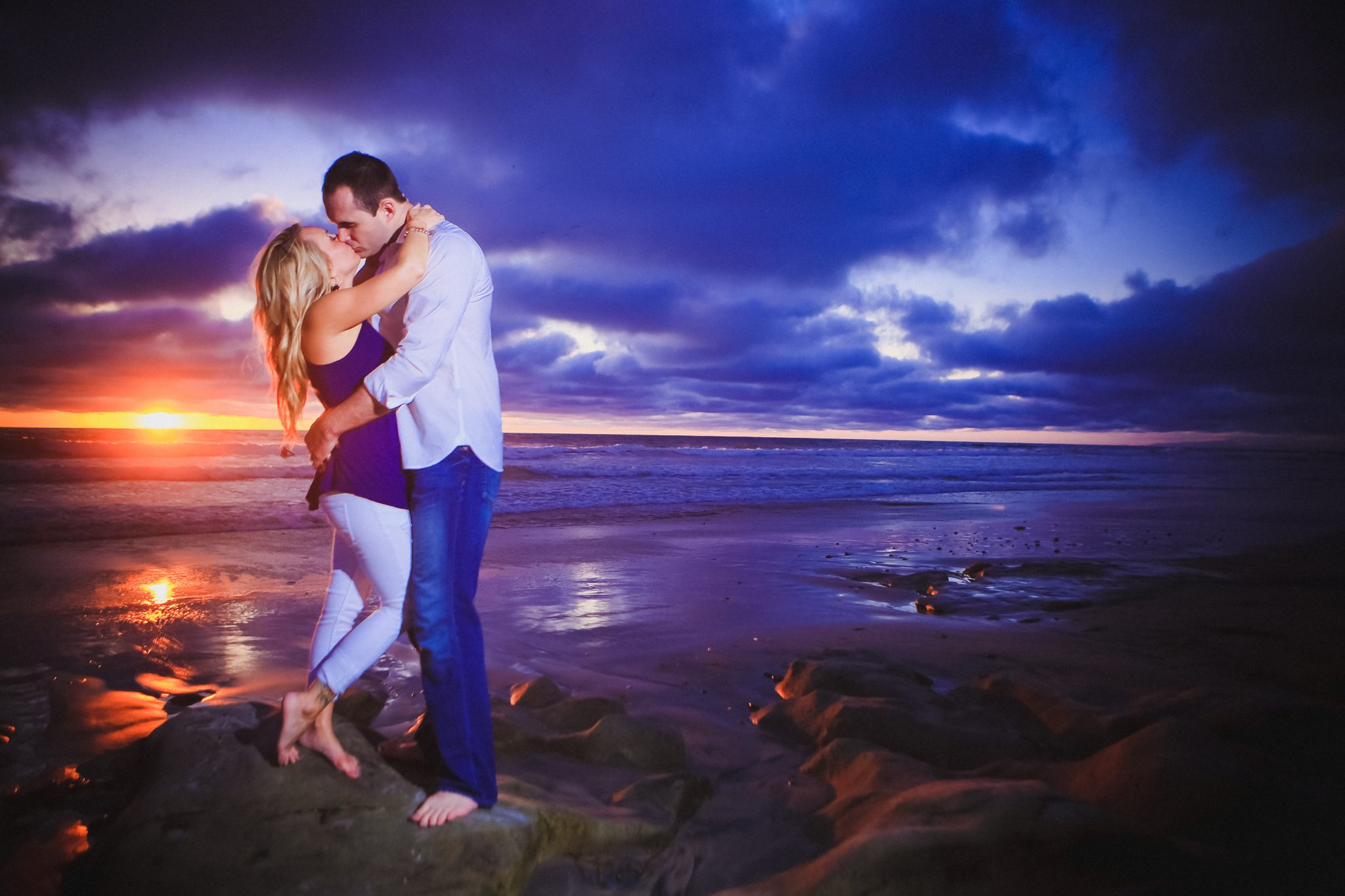 Dramatic sunset during engagement shoot in La Jolla