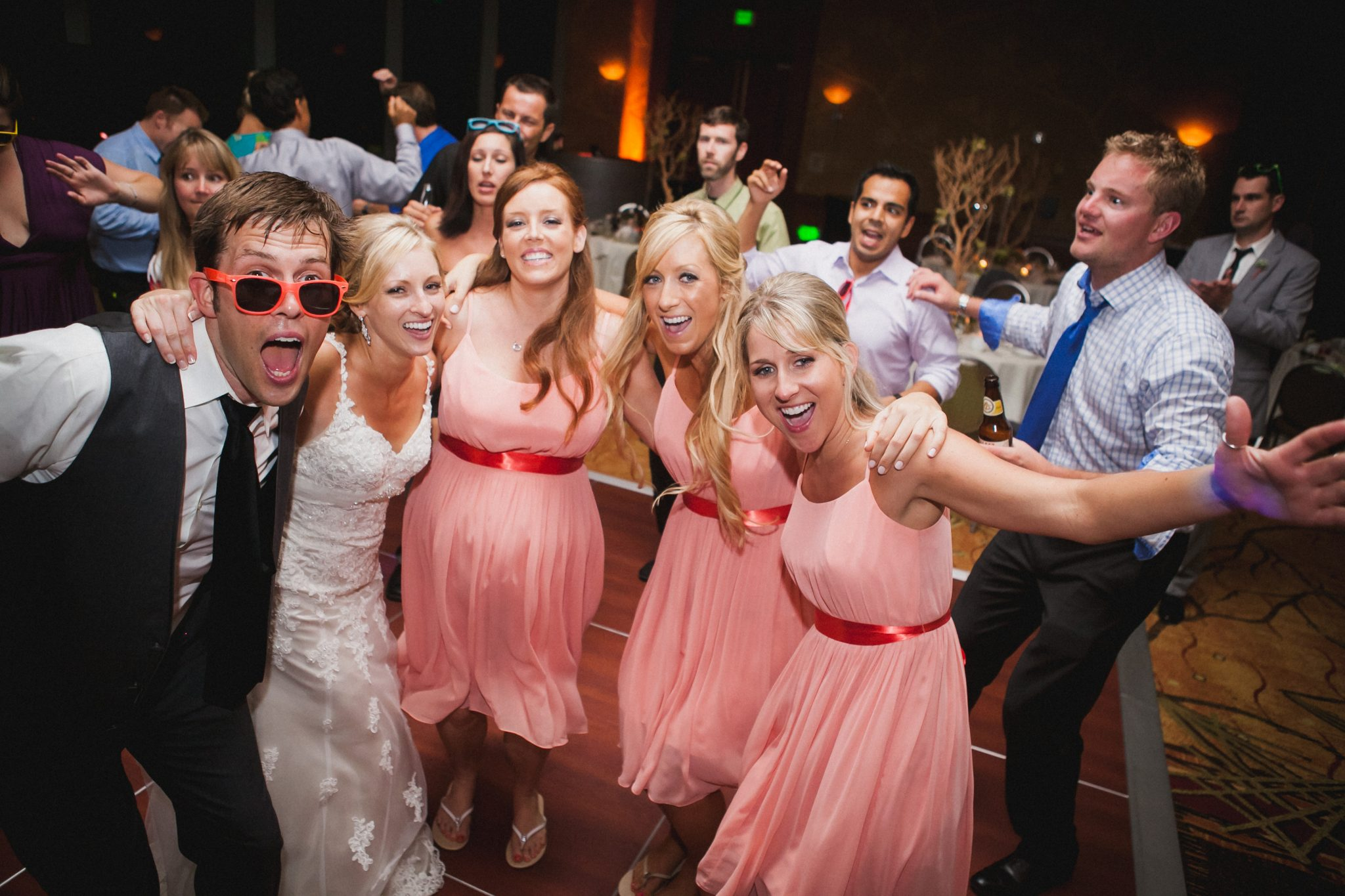 Wedding party dances during the reception