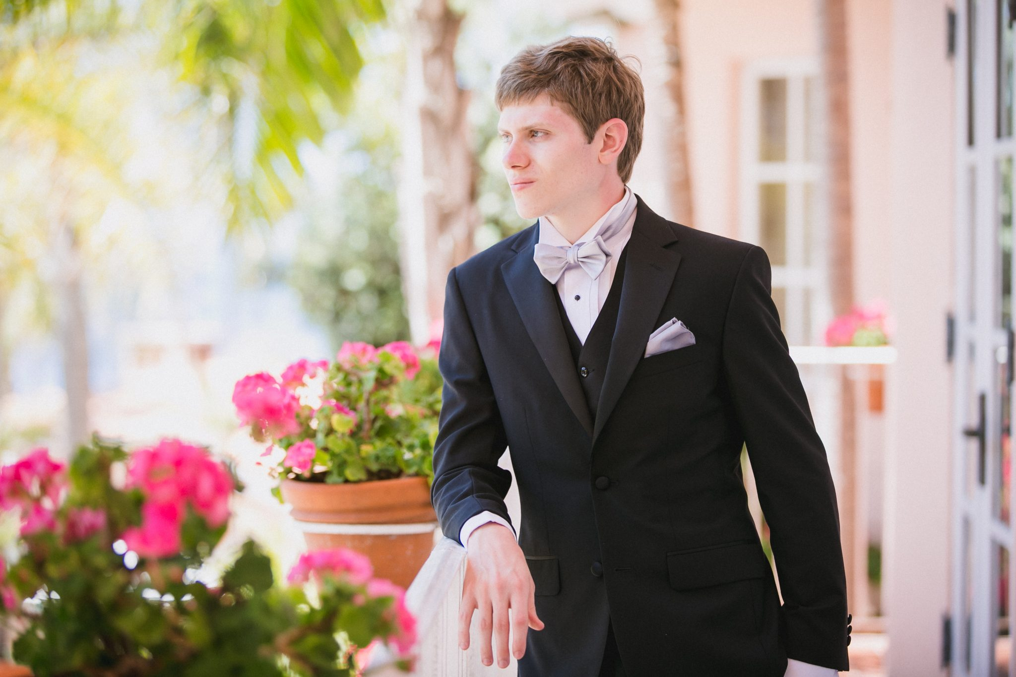 Portrait of the groom at La Valencia Hotel in San Diego