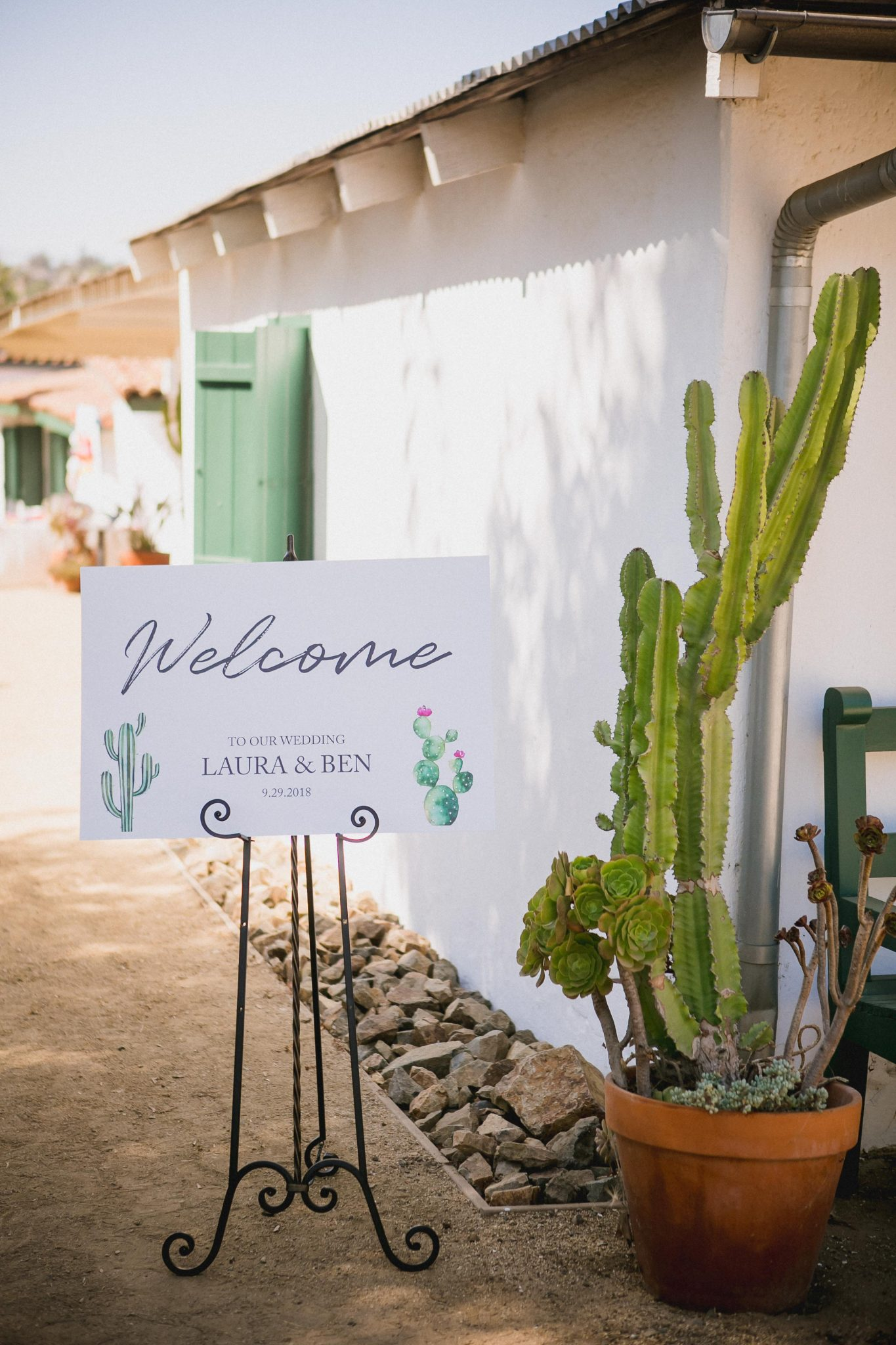 Wedding welcome sign ceremony detail