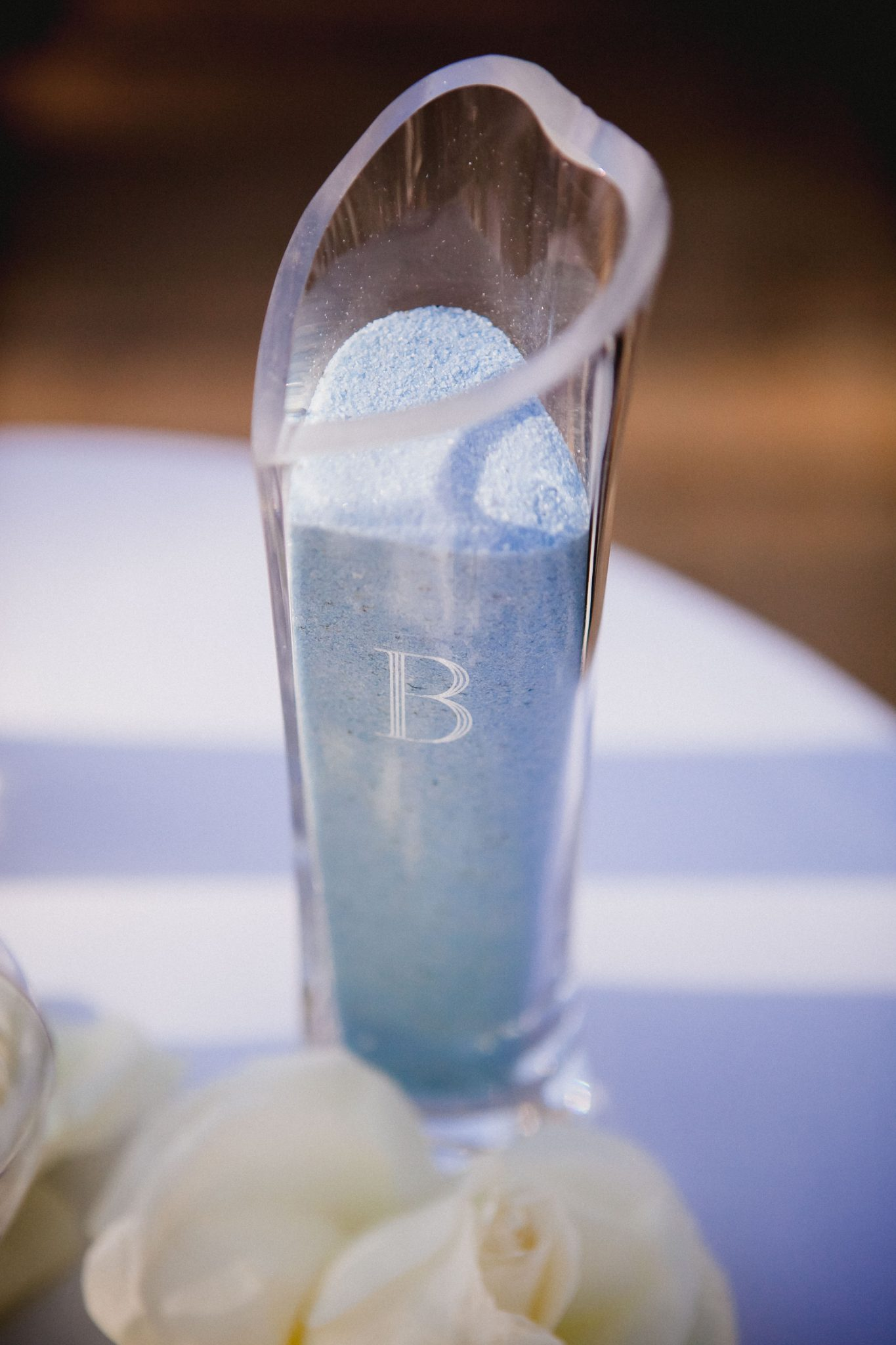 Blue sand for the sand ceremony during a wedding