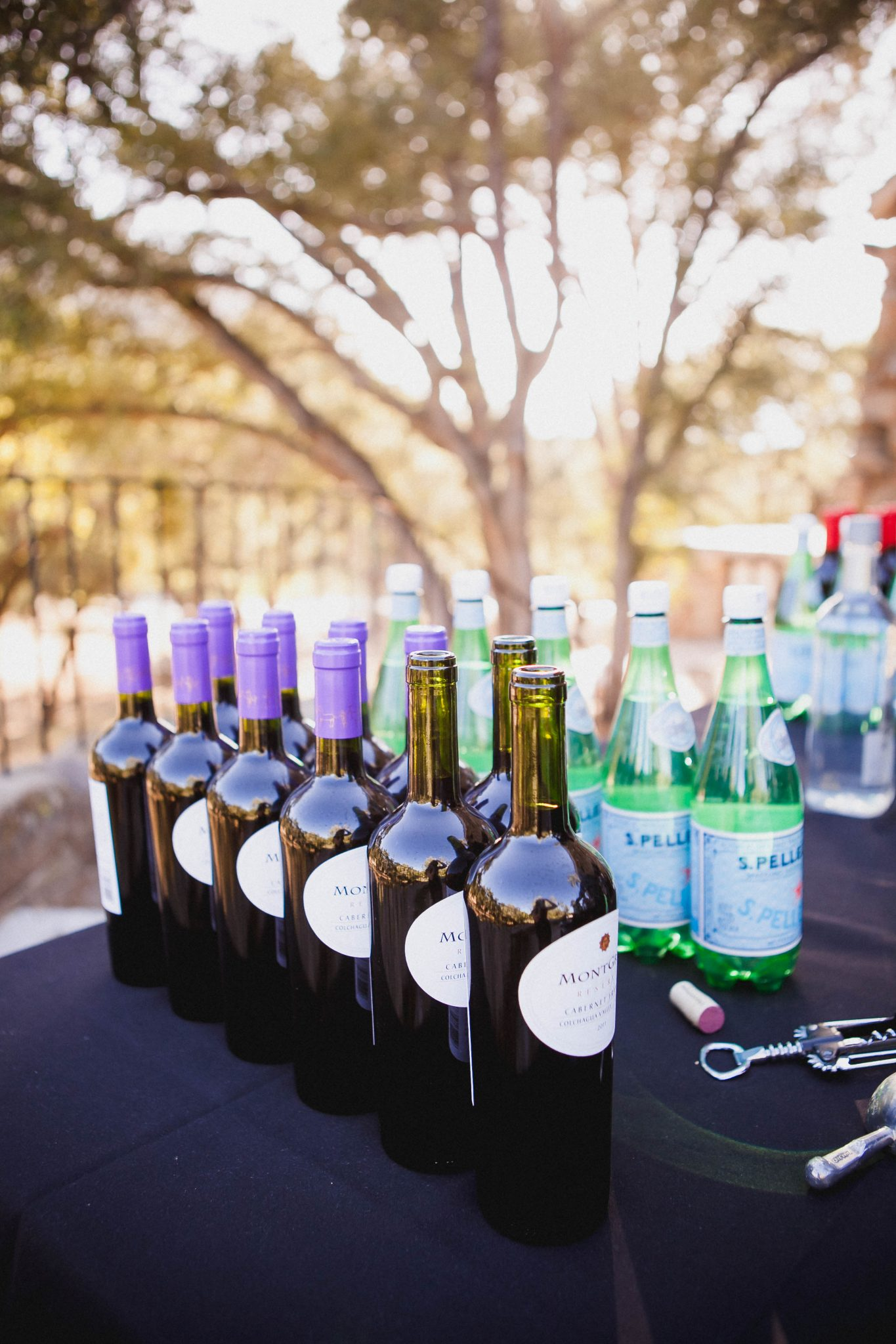 Red wine served during cocktail hour at a wedding at Mount Woodson
