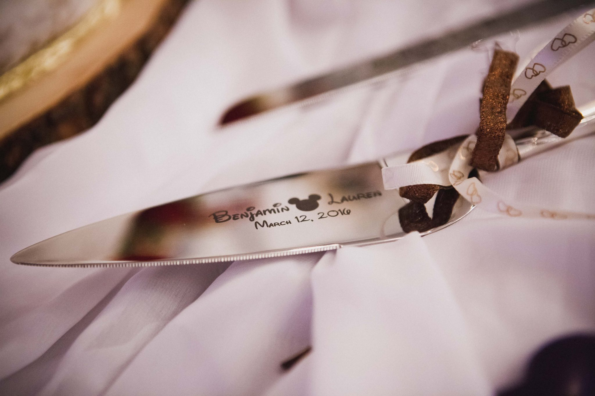 Engraved cake cutting knife for the bride and groom